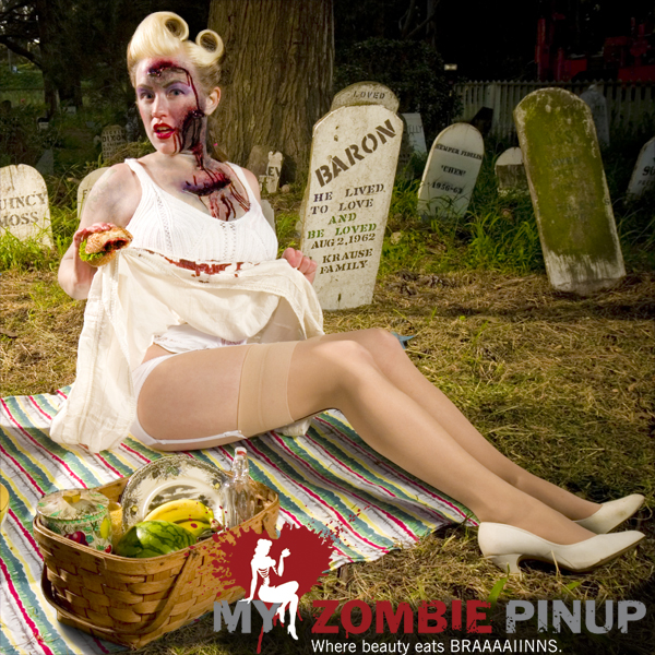 Zombie pin up calender august 2009