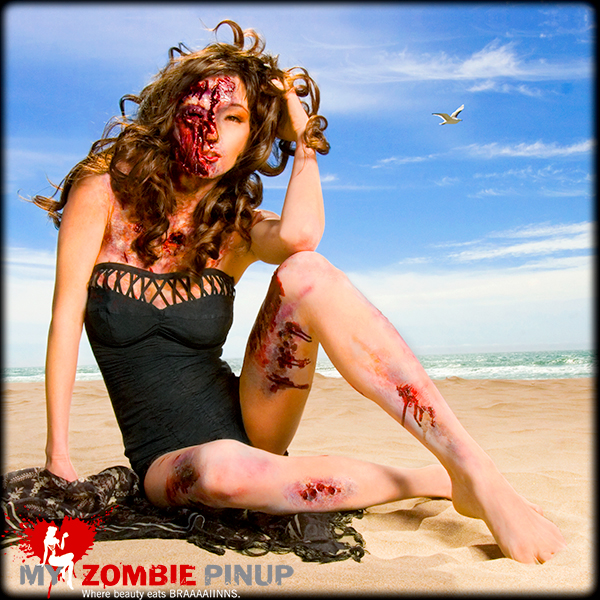 Zombie pin up calender august