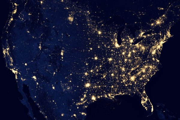 Zombie Population Light Map Space North America
